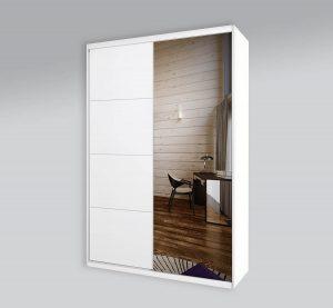 ארון הזזה 2 דלתות פסים ומראה