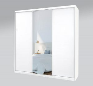 ארון הזזה 3 דלתות חלק ומראה